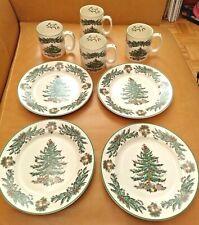 Set of 4 - Spode 'Christmas Tree Garland' Dessert / Salad Plates & Mugs - A+