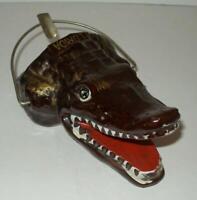 Rare Vintage retro Tiki kitsch Midcentury Florida Alligator Head Ceramic Ashtray