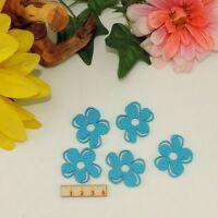 5 blaue Blumen Filz 4cm Karten Basteln Geschenk Frühling Scrapbooking Streudeko