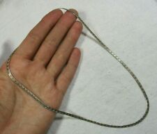 Vintage Italy Sterling Silver 2.7mm Etched Herringbone Chain Necklace 4.8g 18""