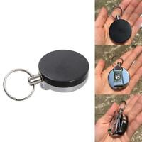 Black Personality Retractable Key Reel Recoil Cord Key Ring Pull Chain Bel UKLQ