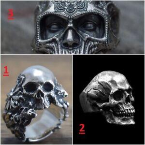 Anello teschio punk VARI MODELLI ENTRA e VEDI acciaio / ring steel skull