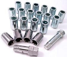 20 x Car wheel Tuner Slim nuts bolts inc locks + Star Key. M12 x 1.5, Taper