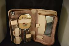 VINTAGE LADIES 1950's LEATHER CASED PETIT POINT TRAVELLING VANITY GROOMING SET