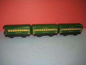 """3 Marx- 6"""" Green Passenger cars for Seaboard's. (2) Bogota & Observation. C-7 jd"""