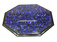 "12"" Black Marble Top Side Table Lapis Mosaic Inlay Designer Home Furniture Decor"