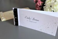 Personalised Chequebook Wedding Invitations. Butterfly Embossed. Any colour