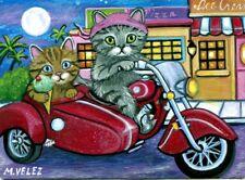 Original Raccoon Artist Cats Kittens Motorcycle Buddies Ice Cream ACEO Print