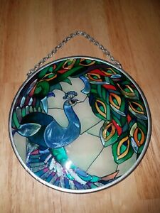 """Amia 4.5"""" PEACOCK Stained Glass Suncatcher Beautiful Colorful"""