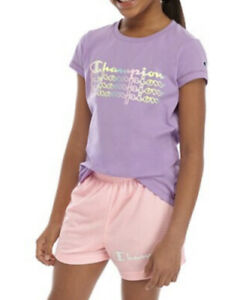 Champion Girls Size Large Ombré Logo T Shirt in Purple Shell New with Tags