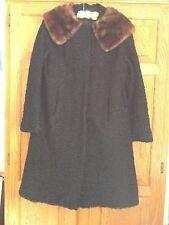 Ladies Coat Curly Lambs Wool Black with Mink Beautiful VTG BLOOMINGDALES sz M