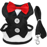 Bowtie Gentleman Dog Clothes Chihuahua Small Dogs Harness Walking Vest & Leash