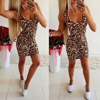 Womens Leopard Sleeveless Square Neck Bodycon Short Mini Dress Summer Party Club
