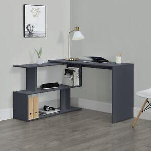 Schreibtisch Winkelschreibtisch Eckschreibtisch Computertisch Tisch Regal Grau