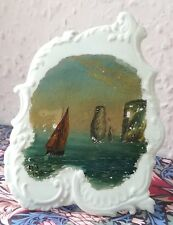 Antique souvenir of ISLE OF WIGHT oil painting Carlton Ware frame 1902 collector