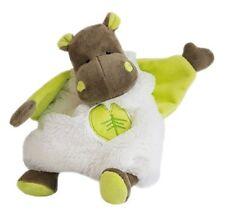 Doudou Babynat Hippopotame Bazile plat Blanc Feuille Vert Bn049