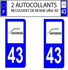 2 stickers autocollants plaque immatriculation auto Départe 43 DOMING 3D RESINE