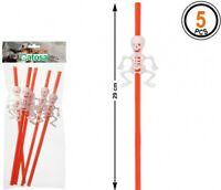 5 Pailles Orange avec SQUELETTE Blanc, Décoration Halloween NEUF