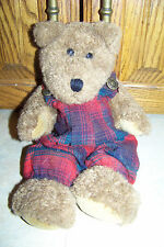 1985-1996 Boyds Bear Plush Burl in Red and Green Plaid Jumper/Overalls