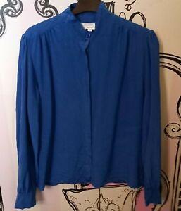 Size 12 Silk Studio Korean 100% SILK Royal Blue High Neck Long Sleeve Shirt