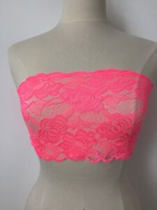Womens Florescent PINK lace strapless boob tube bandeau crop top sexy Lingerie