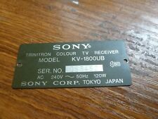 KV-1800UB Sony TV Replacement Metal Model information plate