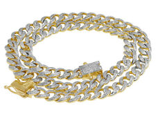 "Chain Necklace 9Mm 5 1/2 Ct 21"" Men's 10K Yellow Gold Real Diamond Miami Cuban"