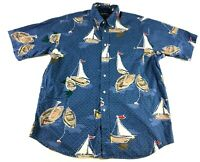 Nautica Sail Boat Mens Blue Short Sleeve Button Front Shirt Size Large