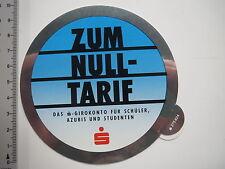 Aufkleber Sticker Sparkasse - Girokonto Konto Schüler Zum Null Tarif (7418)