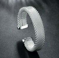 """Classic Mesh Bangle in in Sterling Silver Plated for Women 7-9"""" Adjustable ITALY"""