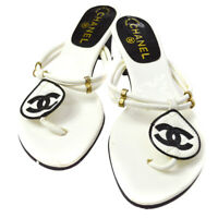 CHANEL CC Logos Shoes Sandals White Black Leather Vintage #36 1/2 A35883b