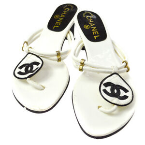CHANEL CC Logos Shoes Sandals White Black Leather Vintage #36 1/2 A35883b