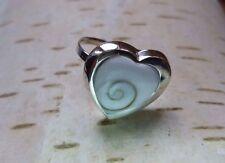 Shiva spiral shell handmade adjustable big HEART ring 925 Sterling silver