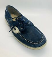Sperry Top Sider Size 10M Boat Shoes Navy Blue Leather Fabric STS99432 Womens
