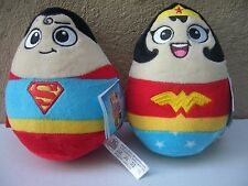 DC Super Heroes Plush Egg Shaped Wonder Woman Superman New With Tags