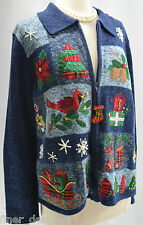 FUGLY TACKY CHRISTMAS Ugly Winner SWEATER Tiara International ZIP Cardigan 3D L