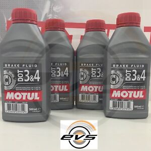 MOTUL DOT 3 4 Liquido Olio Comandi idraulici Freni Frizioni 100% Sint 4 x 500ml
