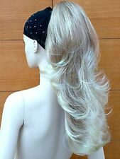 Ladies Reversible Clip In Pony Tail Hair Extension Wavy Straight Light Blonde