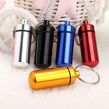 Mini Waterproof Aluminum Keychain Medicine Pill Container Box Bottle Case Holder