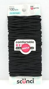 Scunci Comfortable Gentle All Day No Damage Elastics Black 100 pcs Ponytail Ties