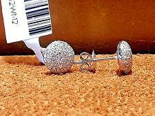 14k White Gold Round shape Diamonds Cluster  stud earrings.