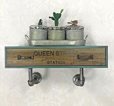 Floating Wooden Wall Drawer Shelf Industrial Vintage Style Storage Rustic