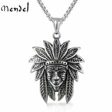 MENDEL Mens Stainless Steel Native American Indian Biker Chief Pendant Necklace