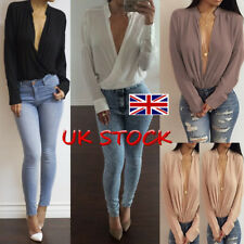 UK Sexy Womens Pluge V Neck Wrap Chiffon Blouse NightOut Long Sleeve Tops Shirts