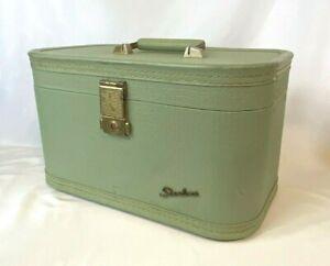 Vintage1950's Green Textured Starline Train Case w/ Mirror Baltimore Luggage Co