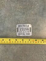 Royal Oak MI Michigan Bicycle License Plate Tag Removed From Schwinn Corvette