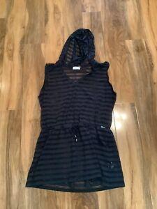 Calvin Klein Size 14 Black Hooded Mesh Design Waist Tied Top