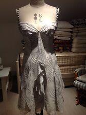 AMANDA WAKELEY  100% SILK CHIFFON DRESS SIZE UK 10 GREY COLOR