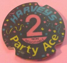 HARVEY'S ~ 2 NCV CASINO CHIP ~ PARTY ACE ~ LAKE TAHOE, NEVADA ~ 1992 ~ 3-PUNCH