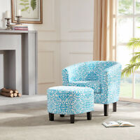 Modern Contemporary Upholstered Barrel Floral Accent Chair wtih Ottoman, Blue